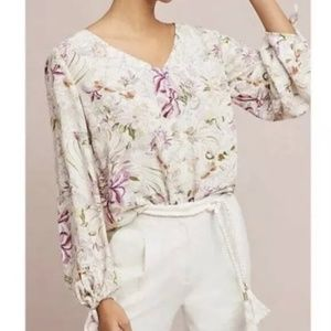 Anthro Maeve XS Pernille tie sleeve floral top
